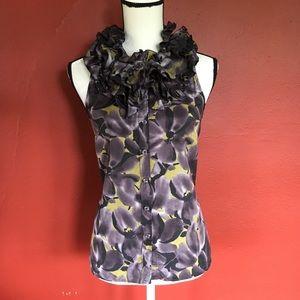 J. Crew 100% Silk Sleeveless Ruffle Floral Top